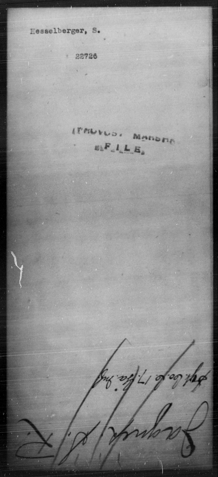 Hesselberger, S - State: [Blank] - Year: [Blank]