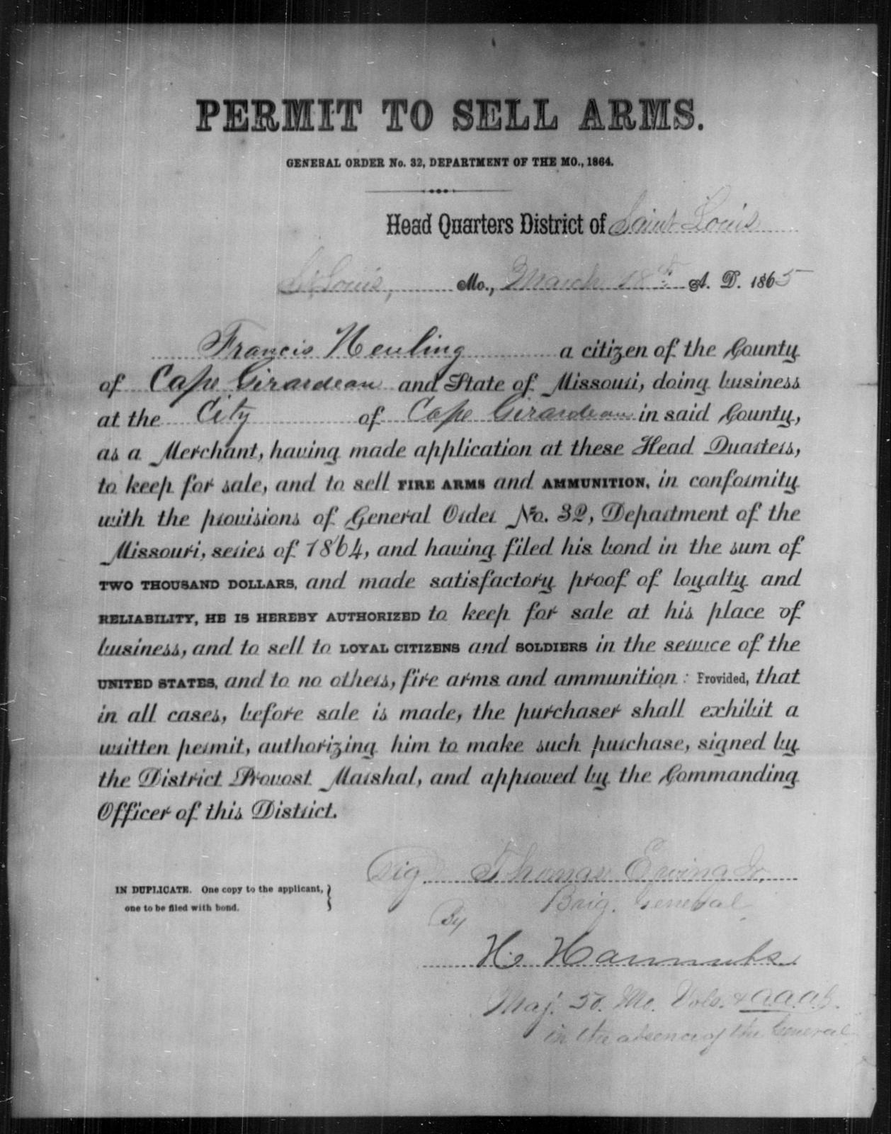 Heuling, Francis - State: Missouri - Year: 1865