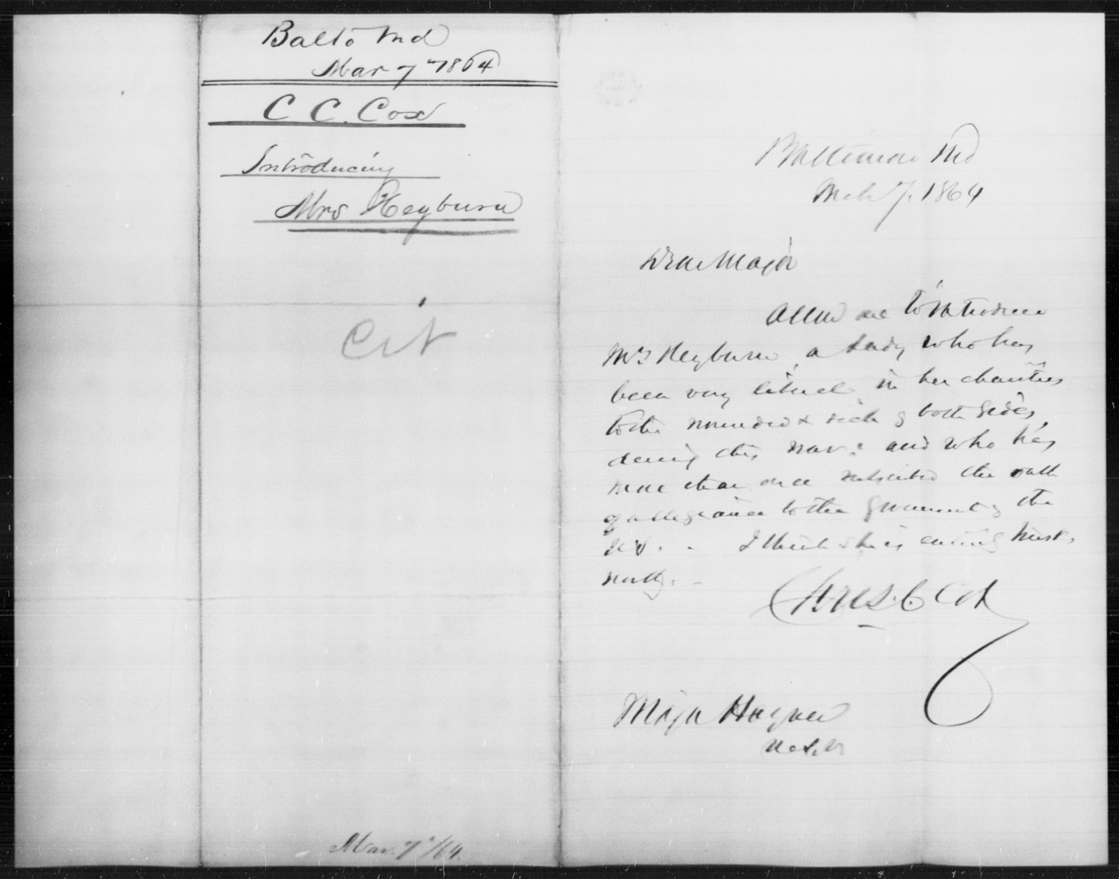 Heyburn, [Blank] - State: Maryland - Year: 1864