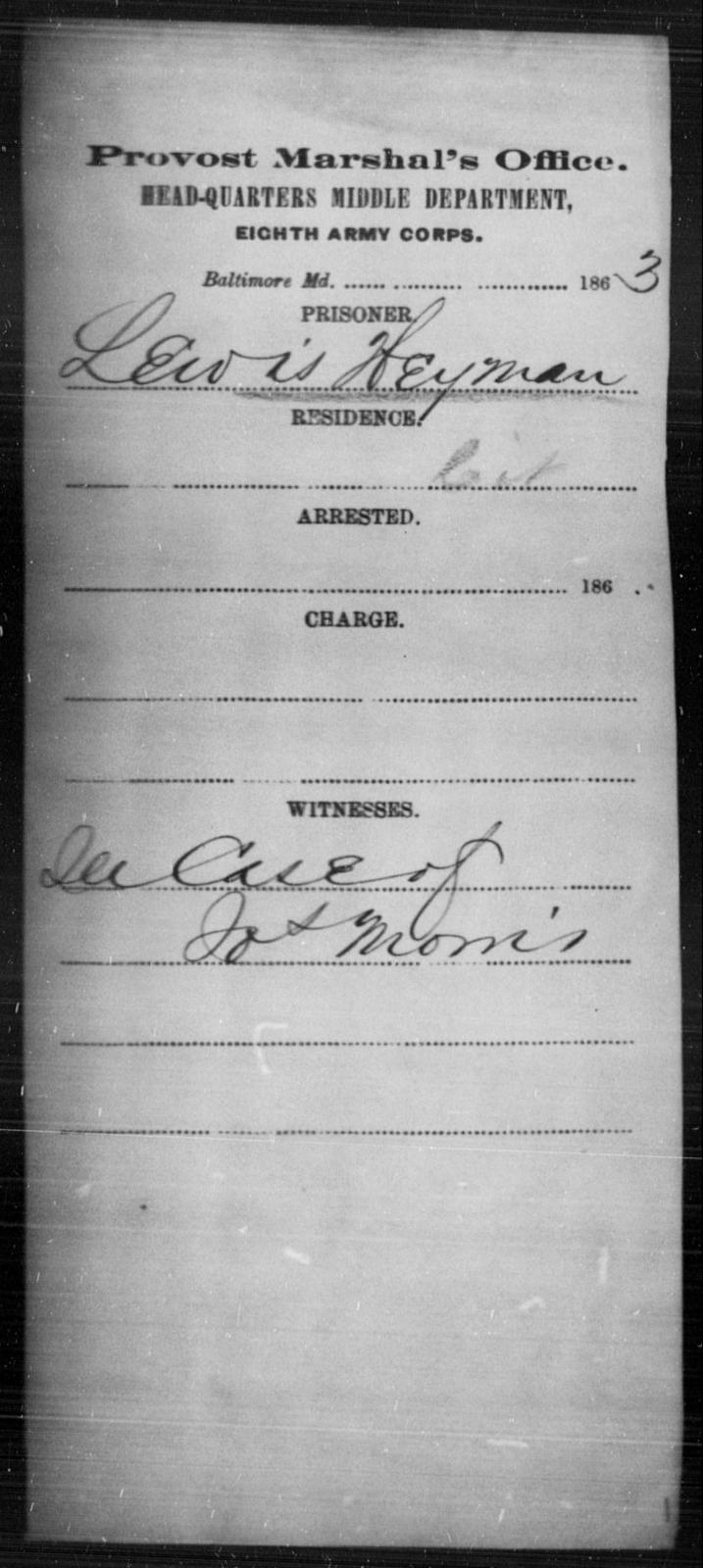 Heyman, Lewis - State: Maryland - Year: 1863