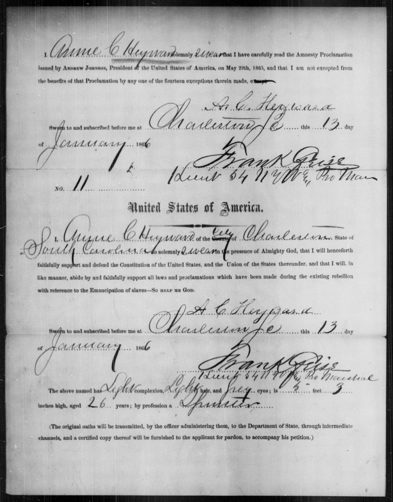 Heyward, Anne C - State: South Carolina - Year: 1866