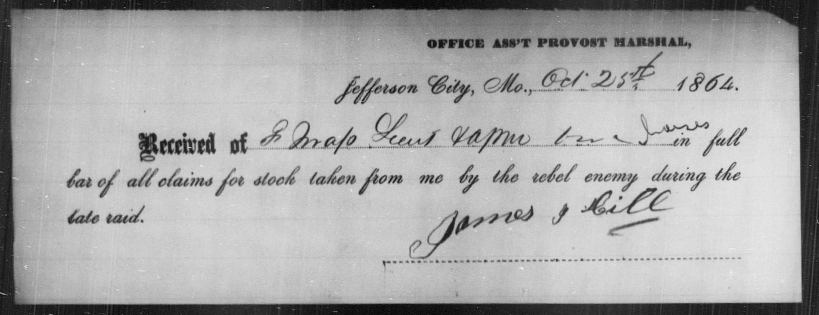 Hill, James I - State: Missouri - Year: 1864