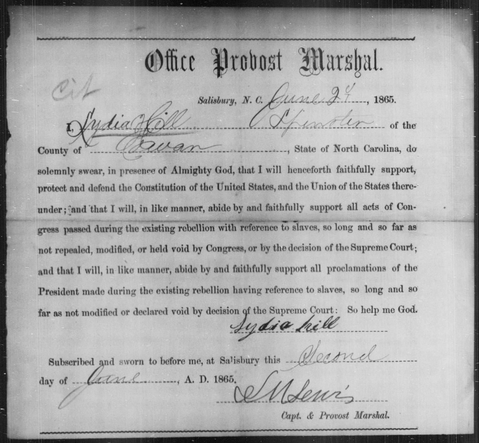 Hill, Lydia - State: North Carolina - Year: 1865