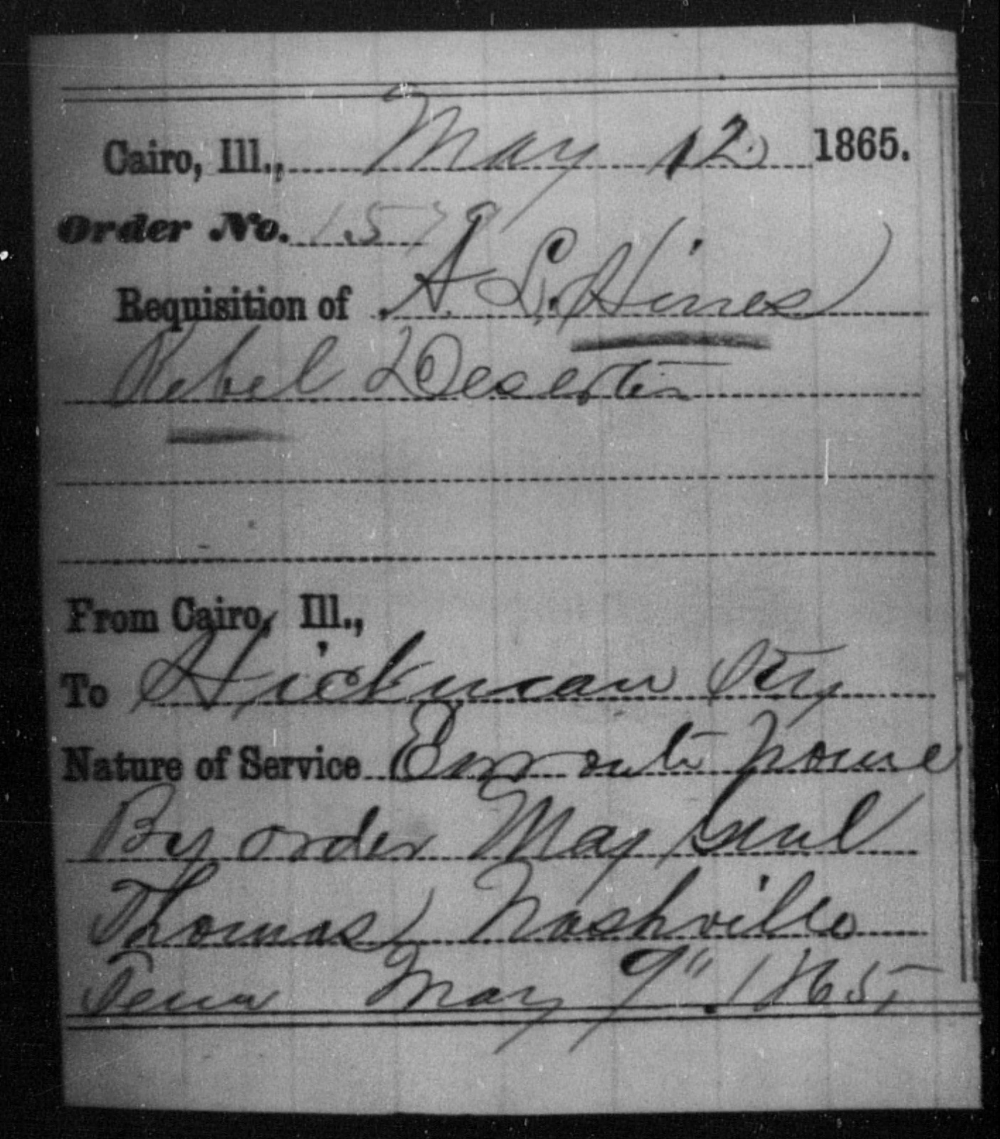 Hines, A L - State: Illinois - Year: 1865