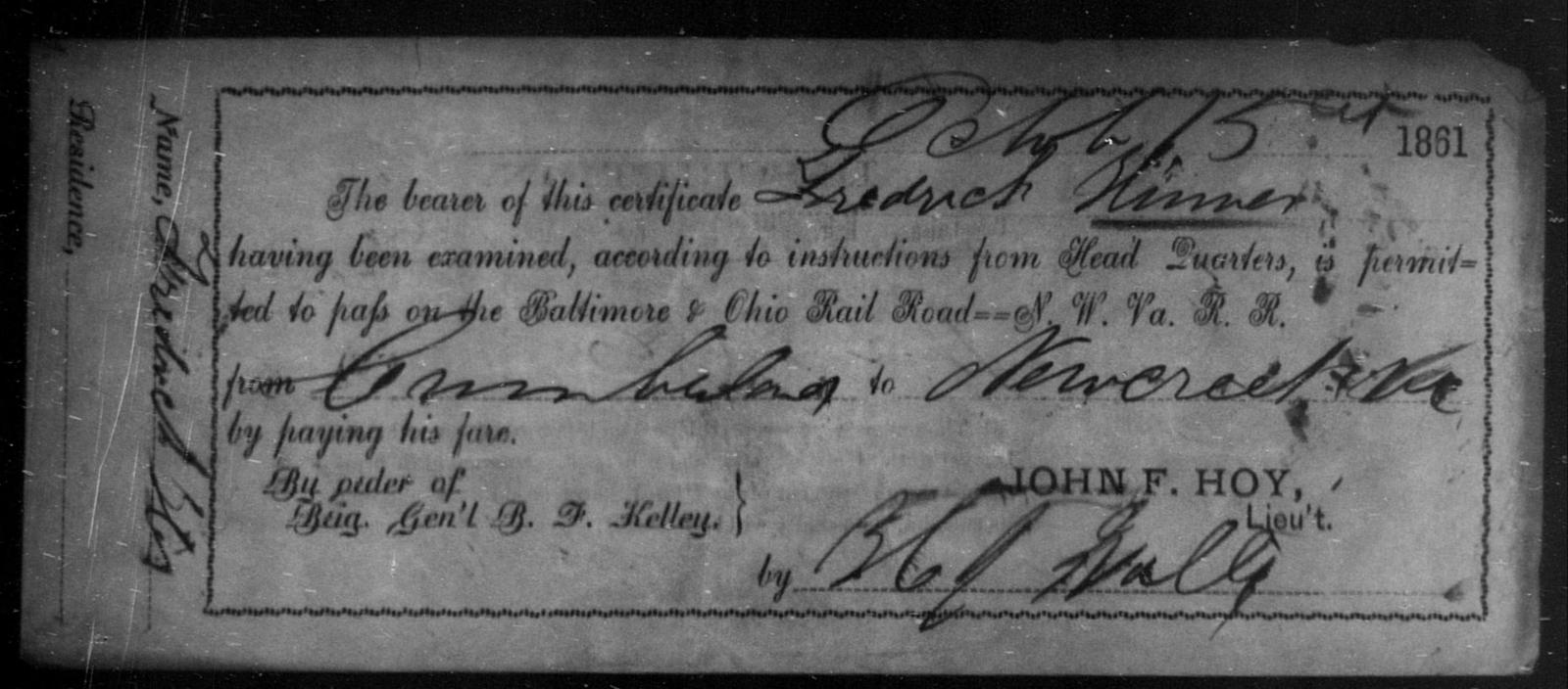 Hinner, Fredrick - State: Ohio - Year: 1861
