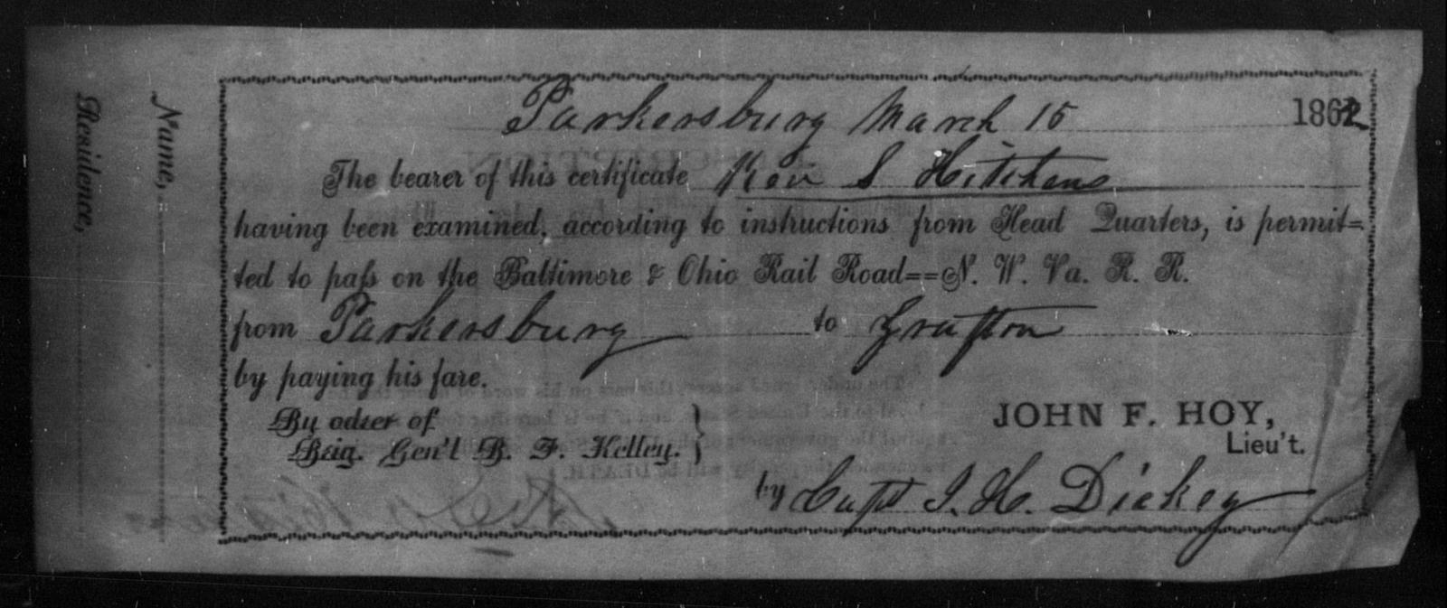 Hitchens, Ken S - State: Ohio - Year: 1862