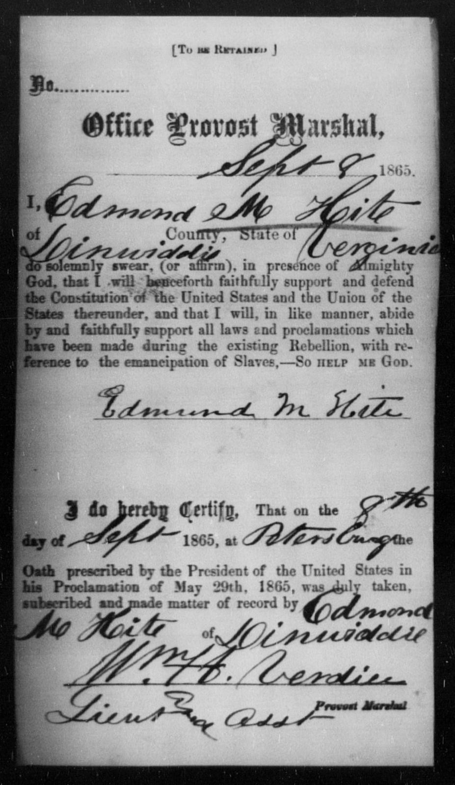 Hite, Edmond M - State: Virginia - Year: 1865