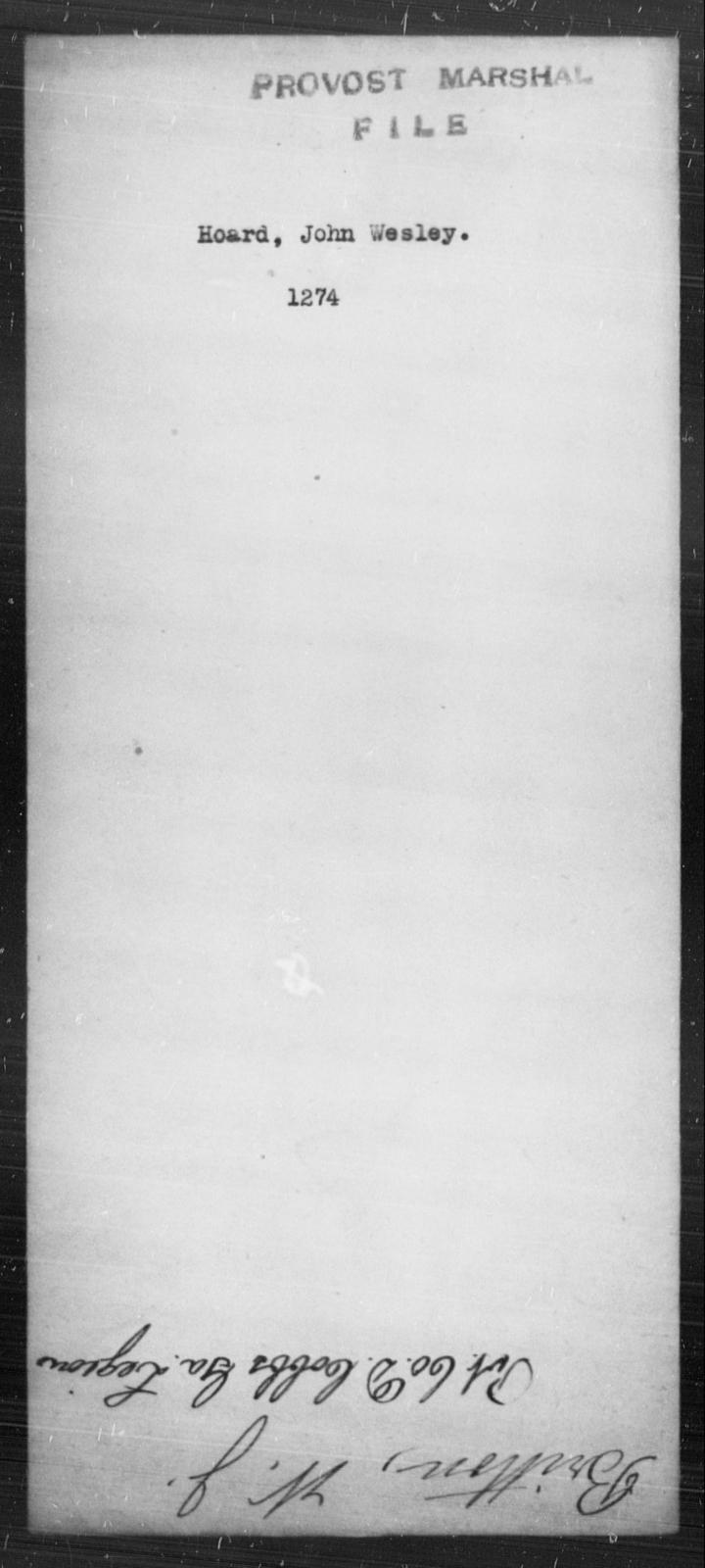 Hoard, John Wesley - State: [Blank] - Year: [Blank]