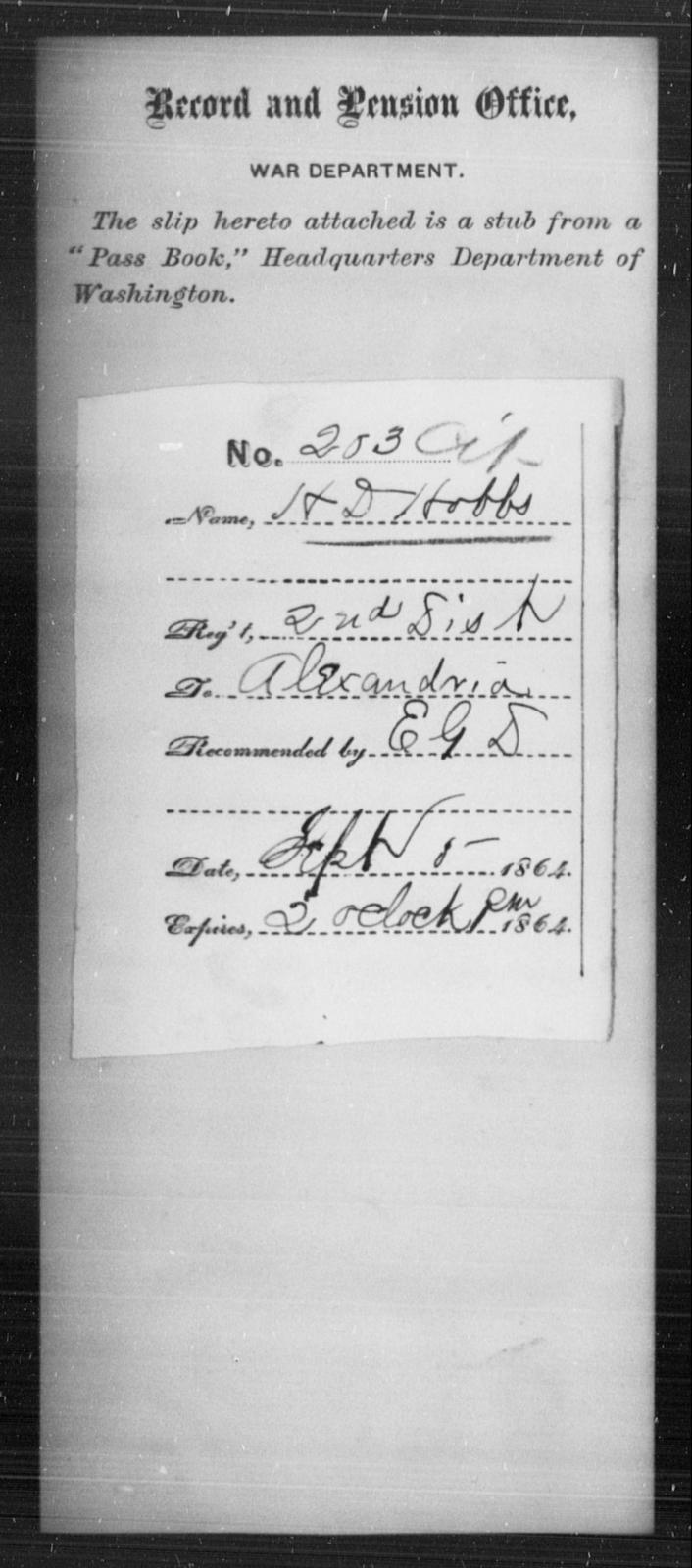 Hobbs, H D - State: [Blank] - Year: 1864