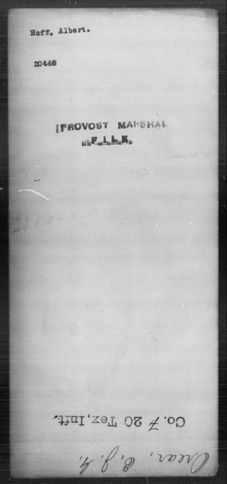 Hoff, Albert - State: [Blank] - Year: [Blank]
