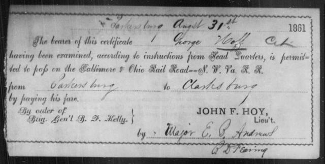 Hoff, George - State: Ohio - Year: 1861