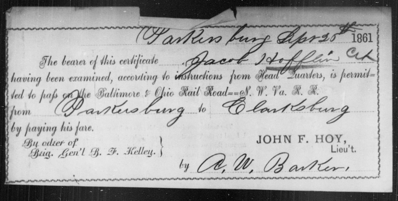 Hoffin, Jacob - State: [Blank] - Year: 1861