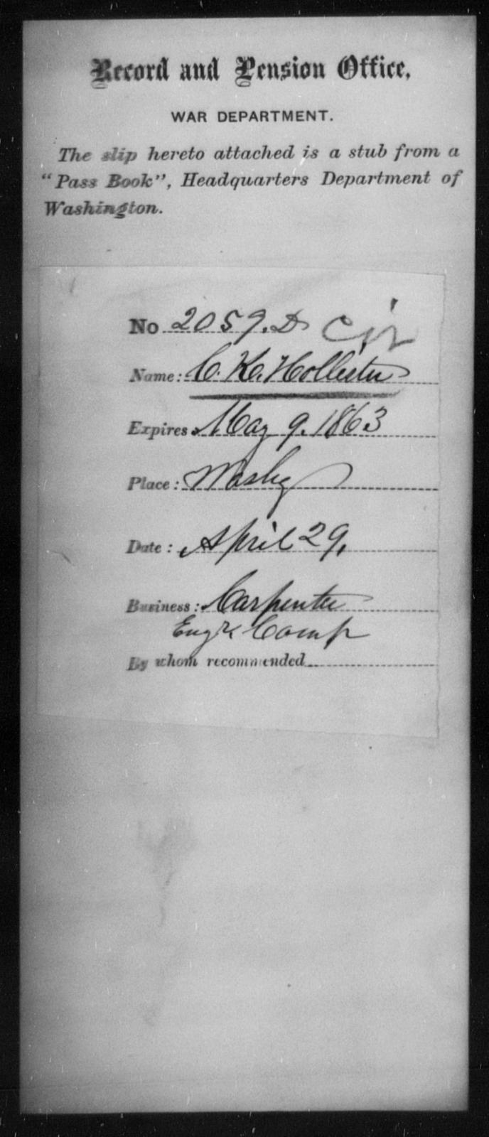 Hollester, C K - State: Washington - Year: 1863