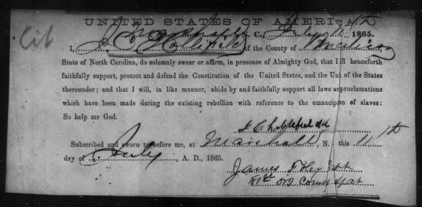 Hollifield, J C - State: North Carolina - Year: 1865