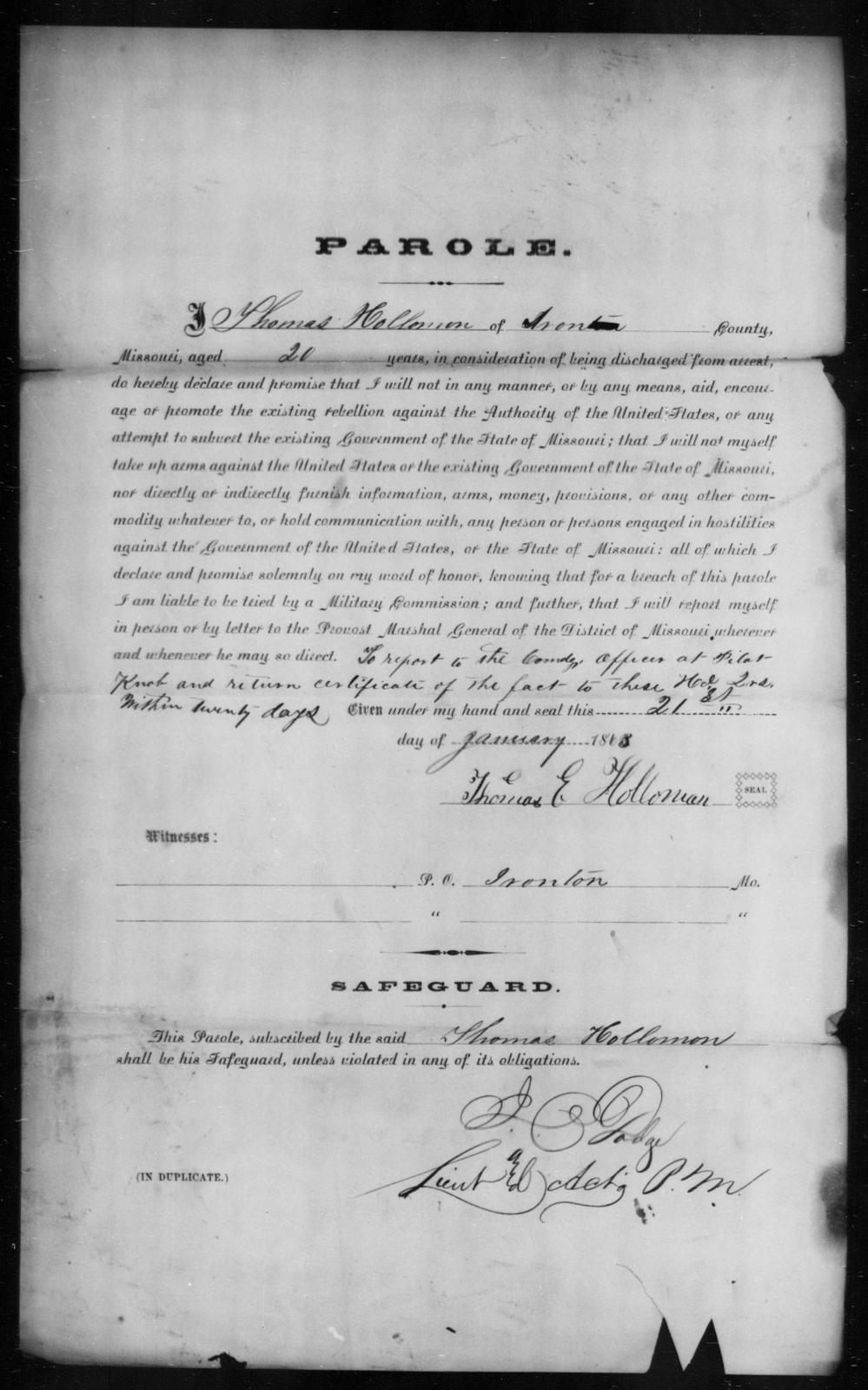 Holloman, Thomas E - State: Missouri - Year: 1863