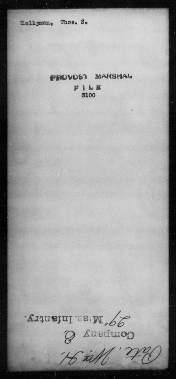 Hollyman, Thos S - State: [Blank] - Year: [Blank]