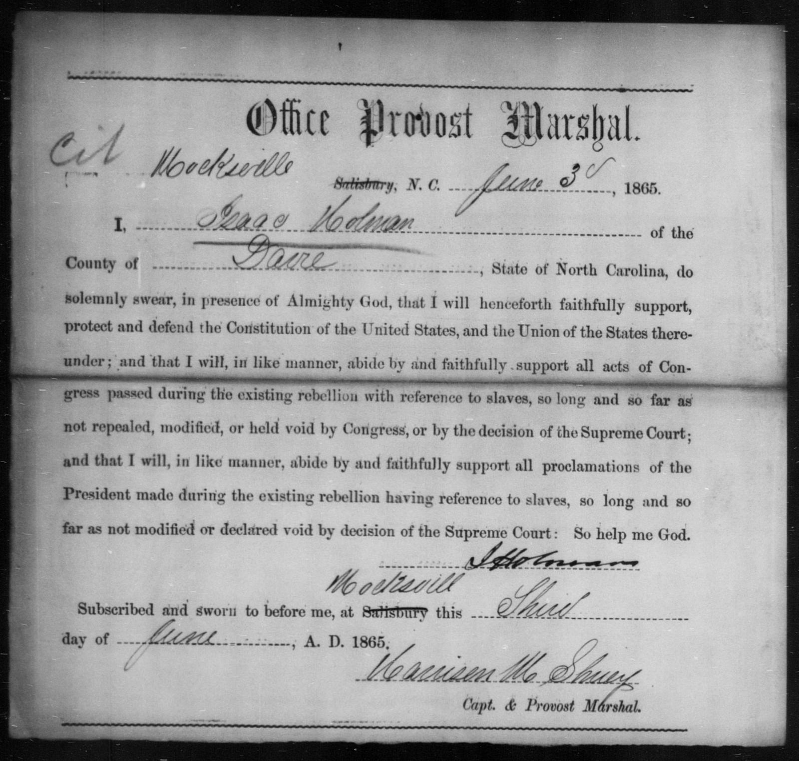 Holman, Isaac - State: North Carolina - Year: 1865