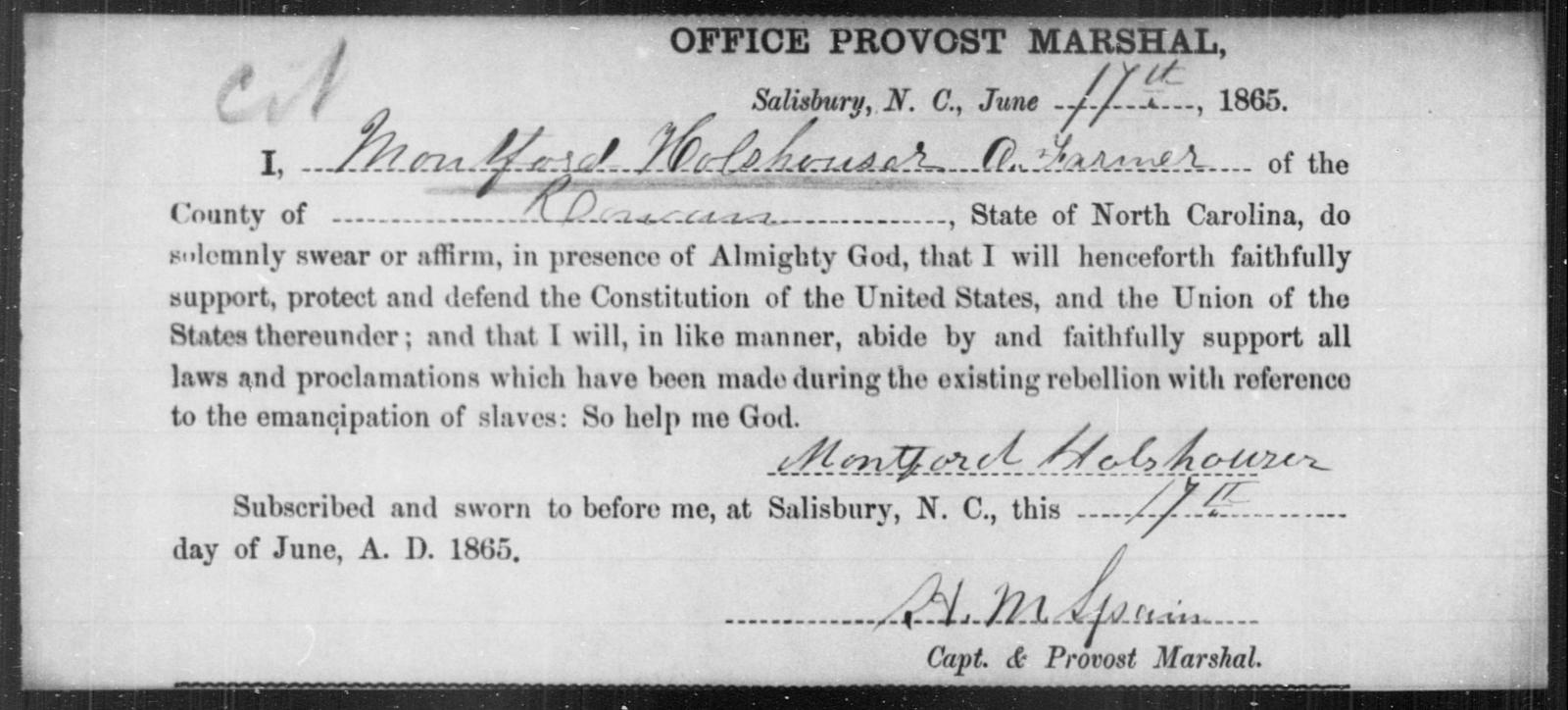 Holshouser, Montford - State: North Carolina - Year: 1865