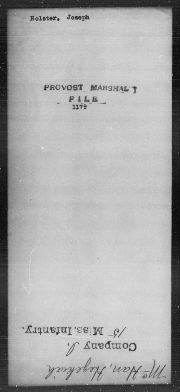 Holster, Joseph - State: [Blank] - Year: [Blank]