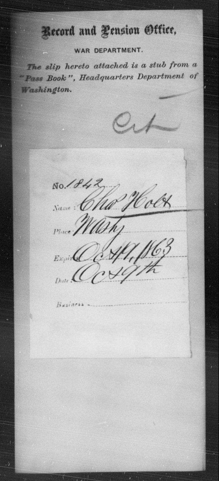 Holt, Chas - State: Washington - Year: 1863