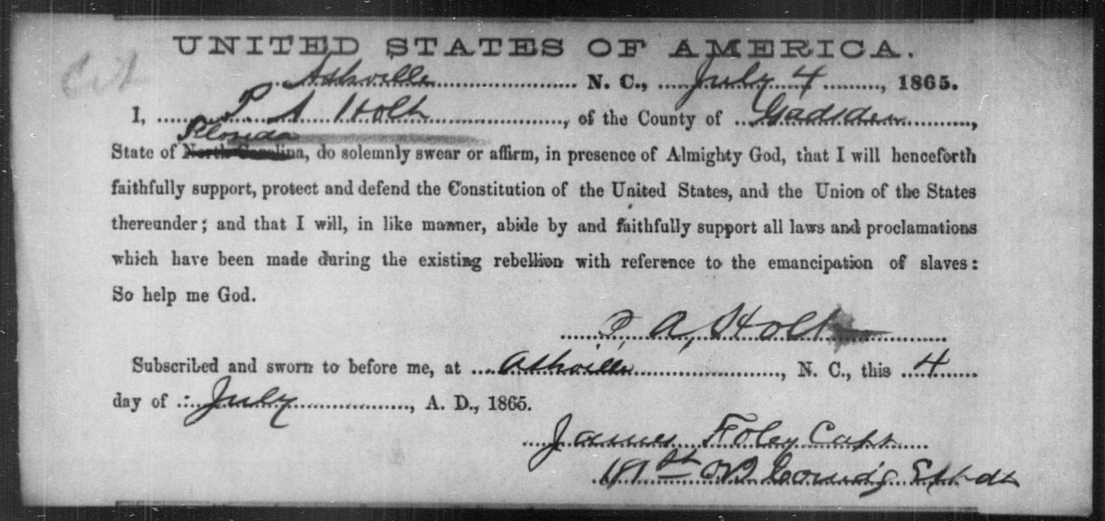 Holt, P A - State: North Carolina - Year: 1865