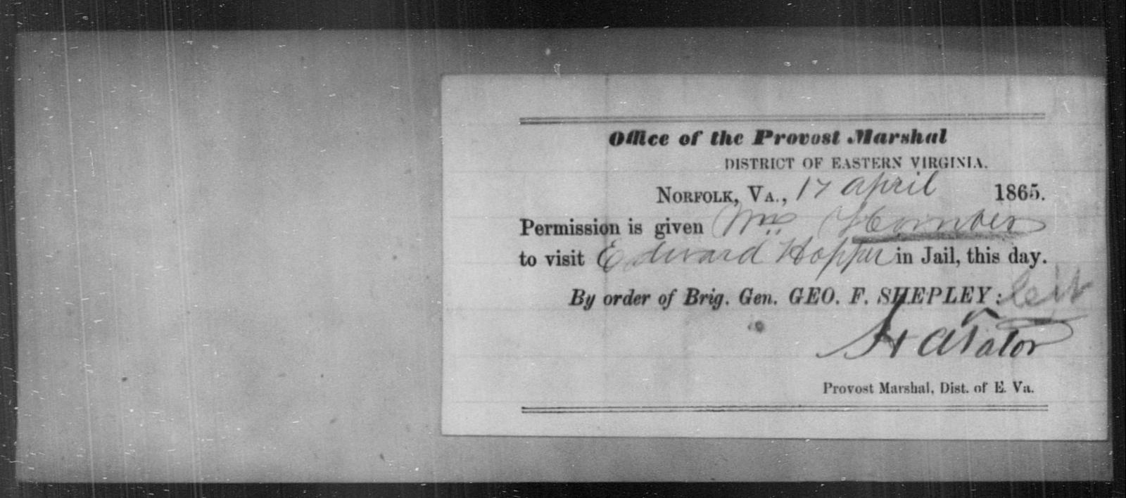 Homan, Wm - State: Virginia - Year: 1865
