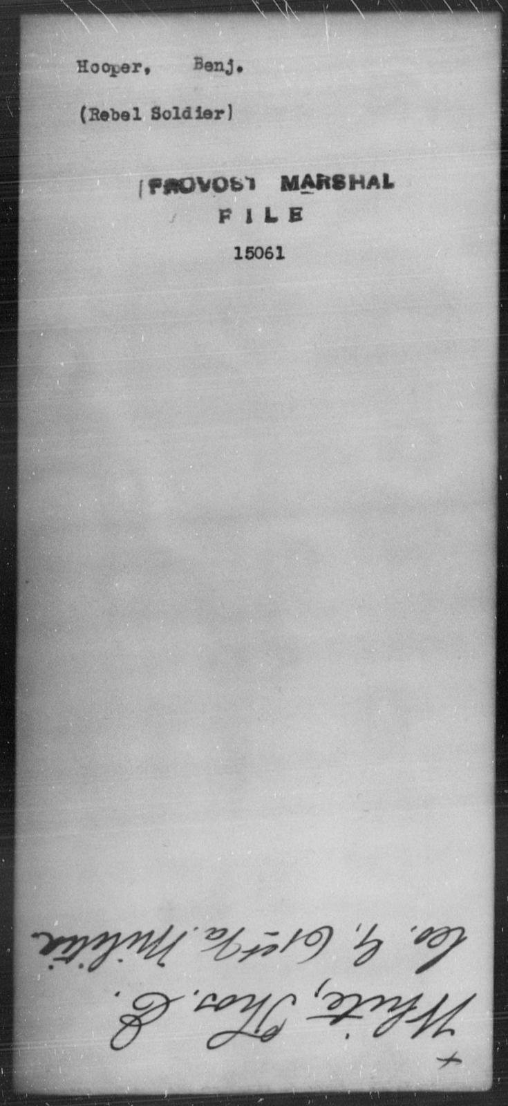 Hooper, Benj - State: [Blank] - Year: [Blank]