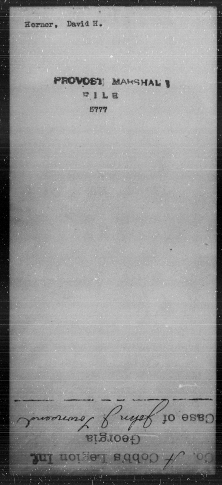 Horner, David H - State: [Blank] - Year: [Blank]