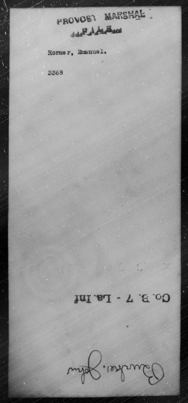 Horner, Emanuel - State: [Blank] - Year: [Blank]