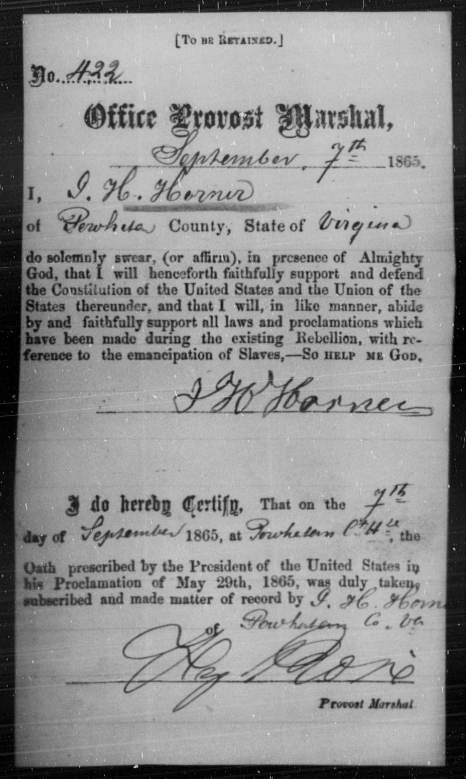 Horner, J H - State: Virginia - Year: 1865