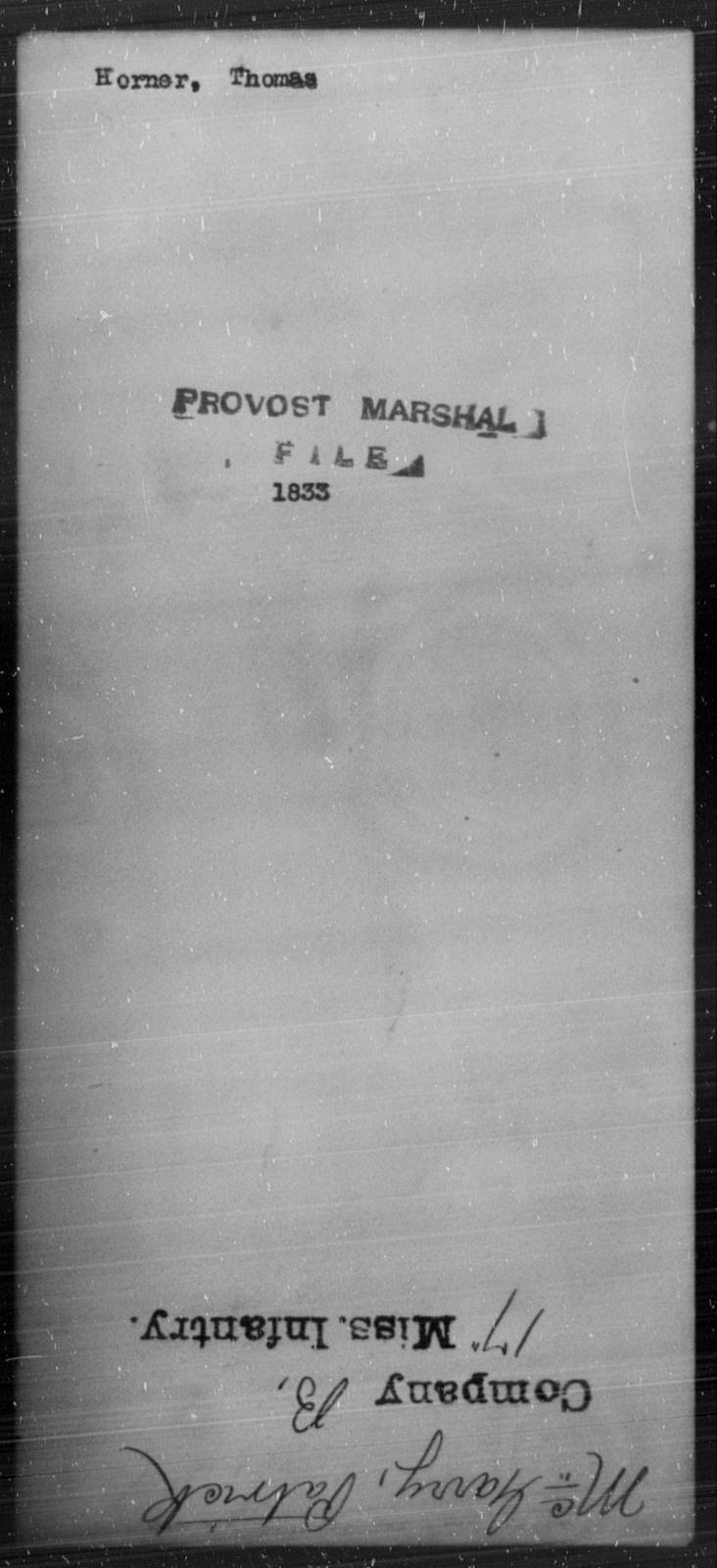 Horner, Thomas - State: [Blank] - Year: [Blank]
