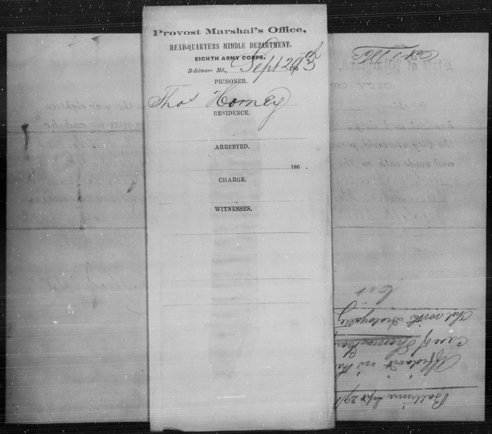 Horney, Thos - State: Maryland - Year: 1863