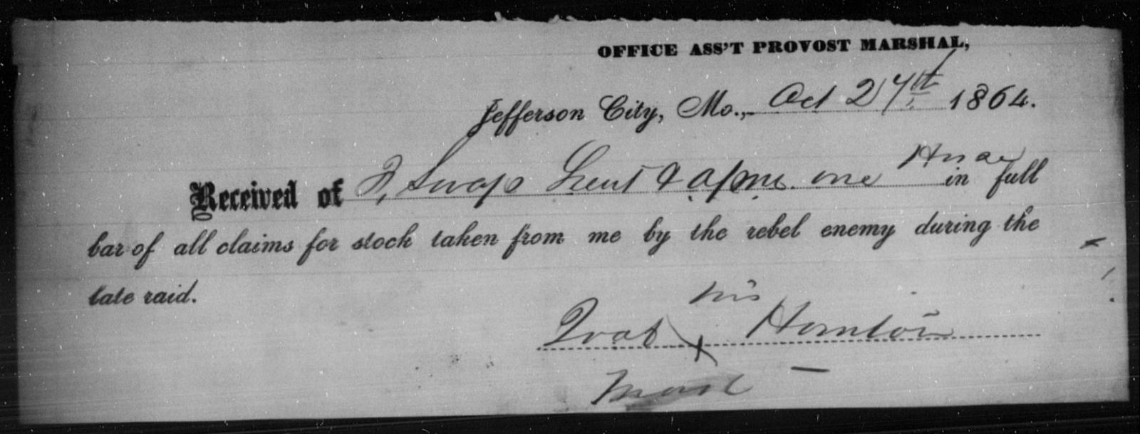 Hornton, Joab - State: Missouri - Year: 1864