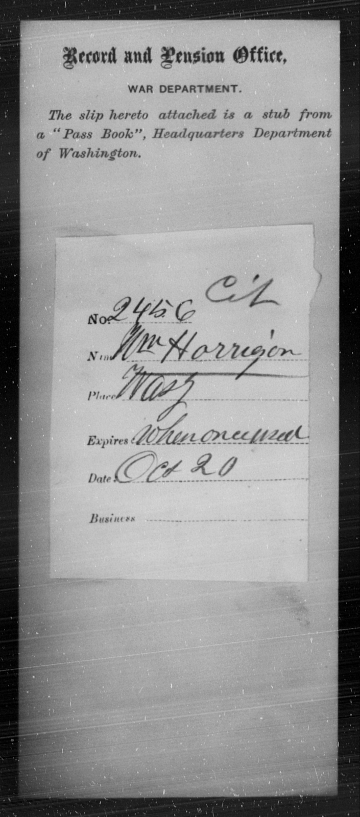 Horrigon, Wm - State: Washington - Year: 1863