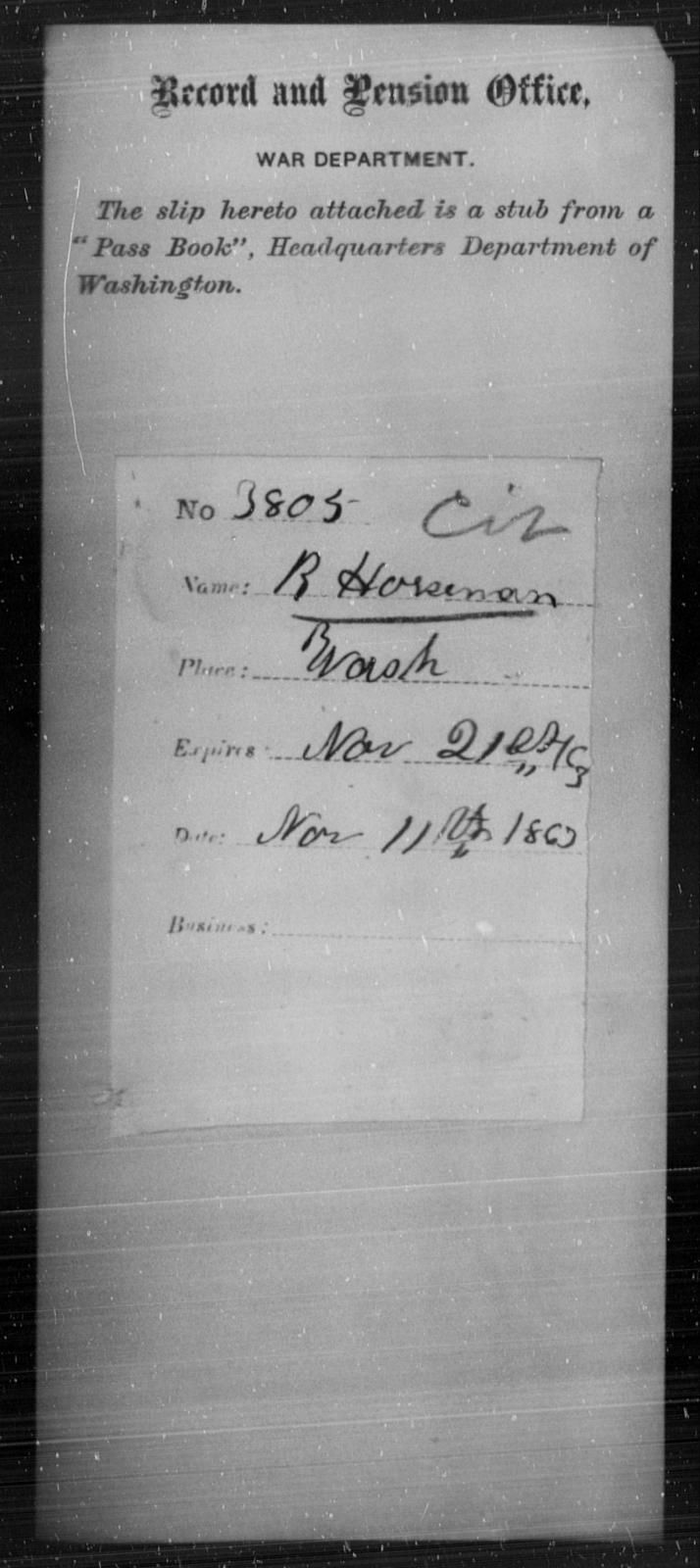 Horseman, R - State: Washington - Year: 1863