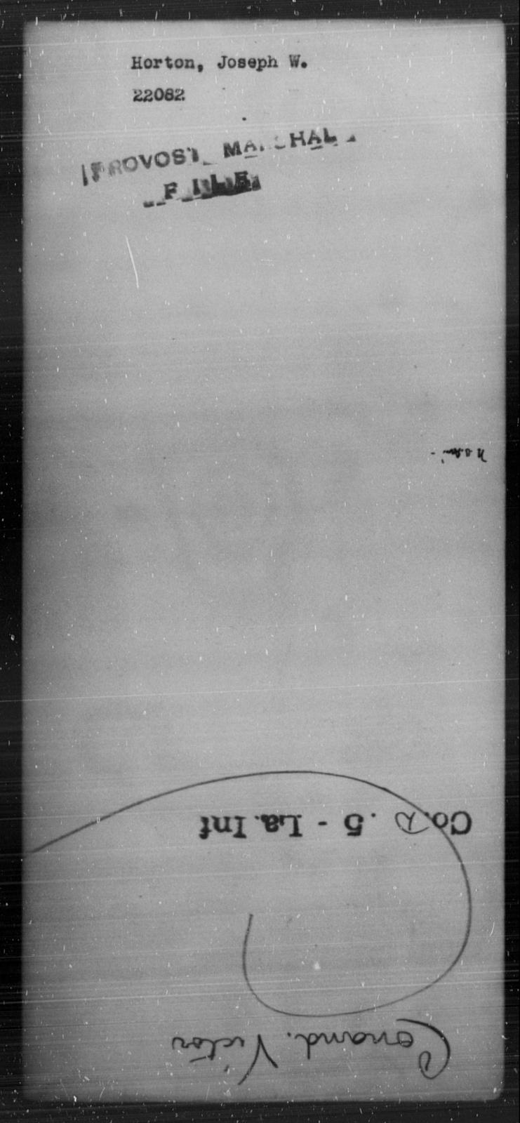 Horton, Joseph W - State: [Blank] - Year: [Blank]