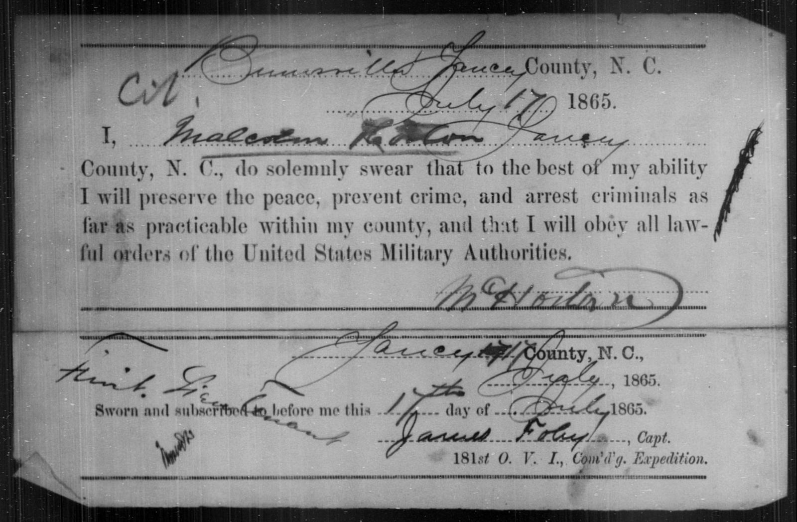 Horton, Malcolm - State: North Carolina - Year: 1865