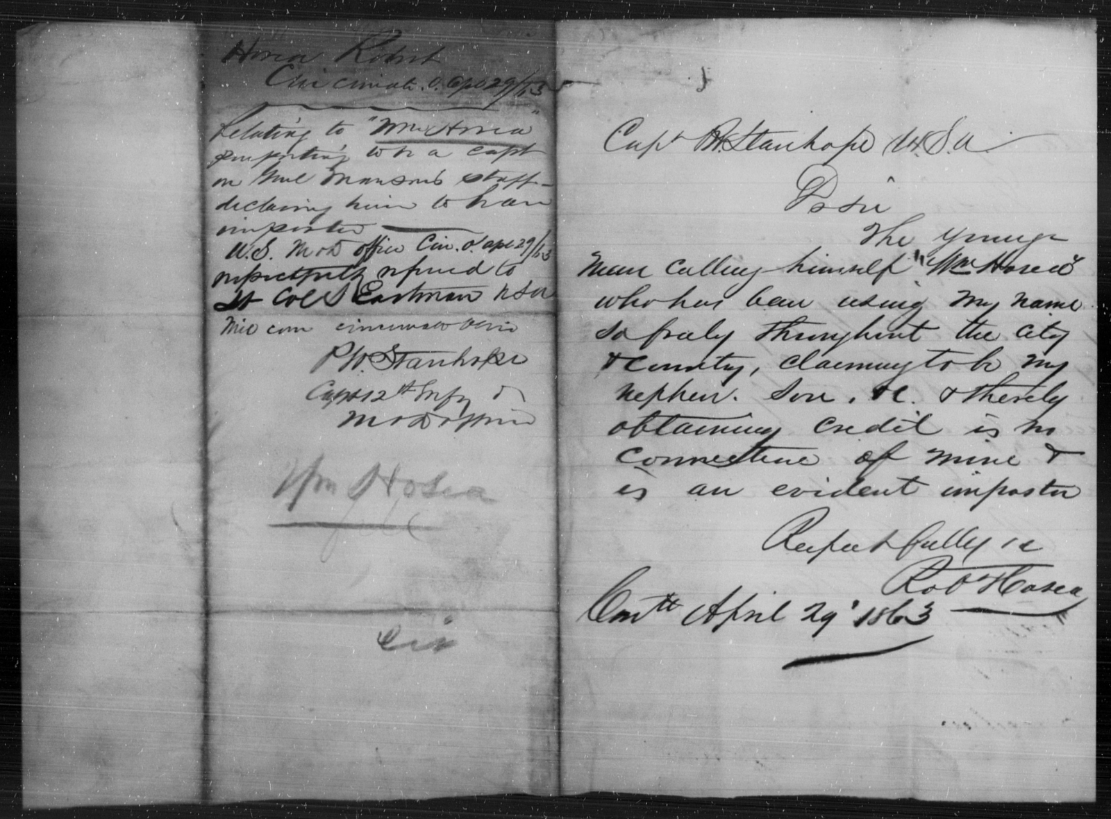 Hosca, Wm - State: [Blank] - Year: 1863