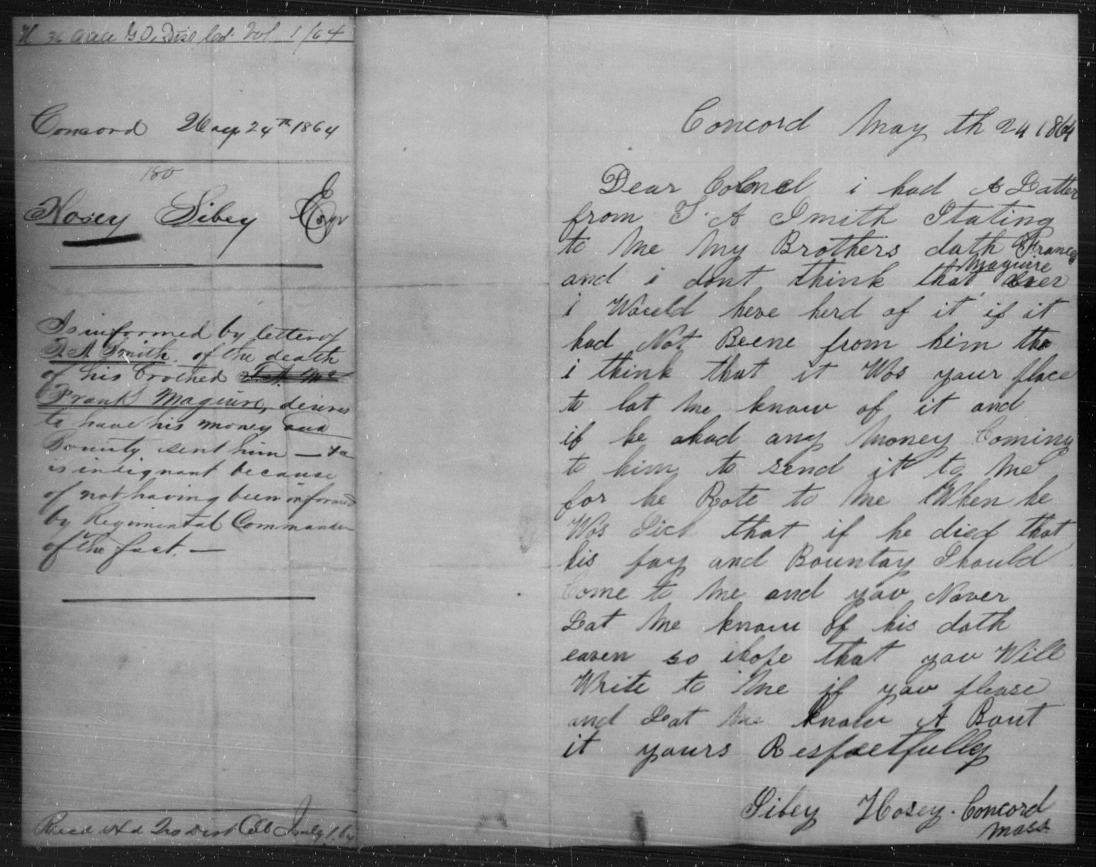 Hosey, Sibey - State: [Blank] - Year: 1864