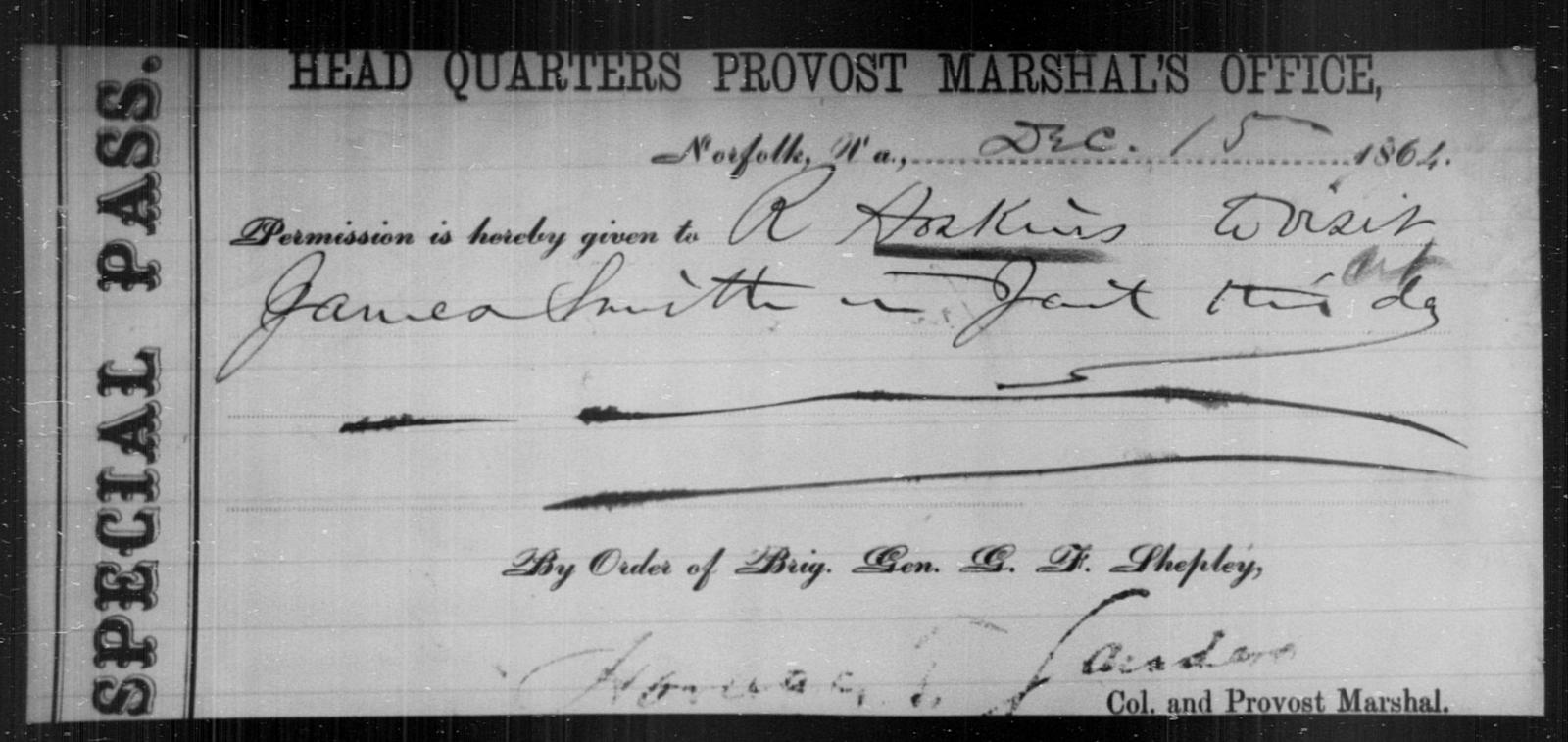Hoskins, R - State: Virginia - Year: 1864