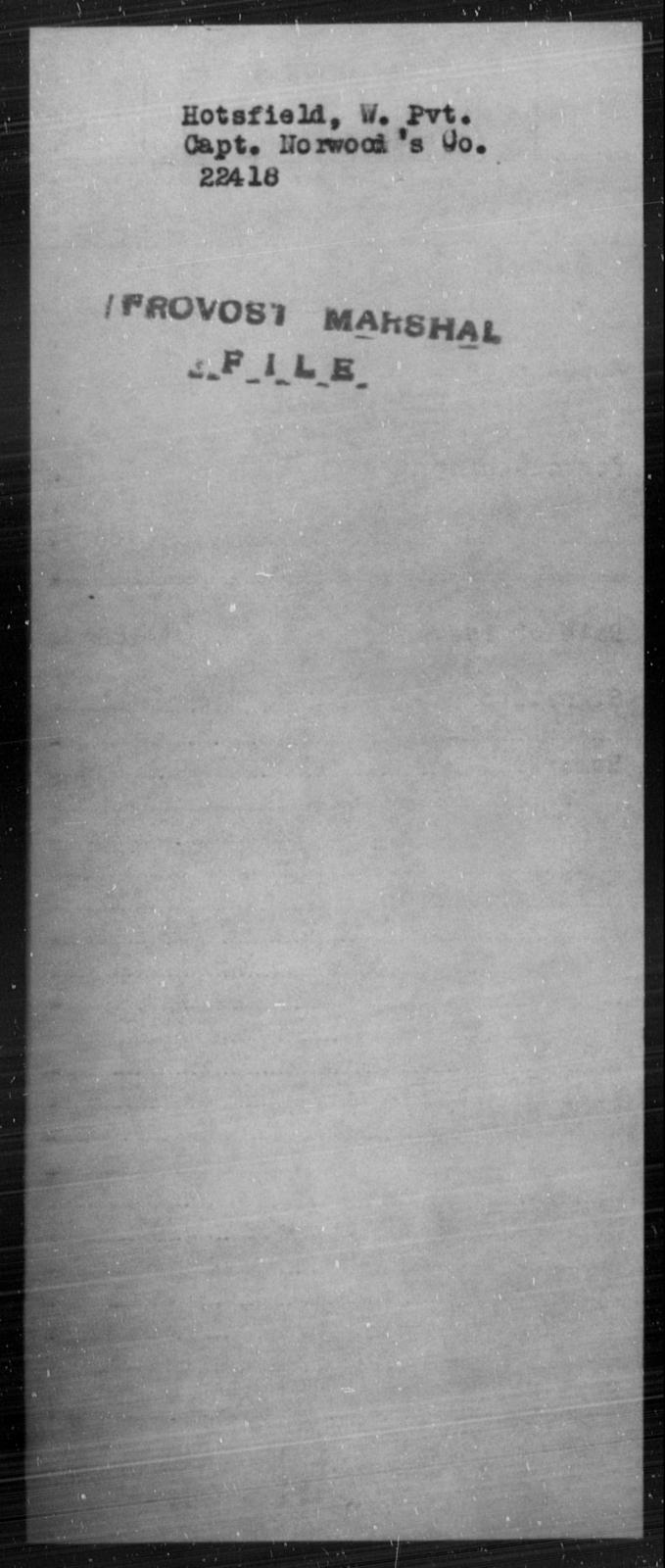 Hotsfield, W - State: [Blank] - Year: [Blank]