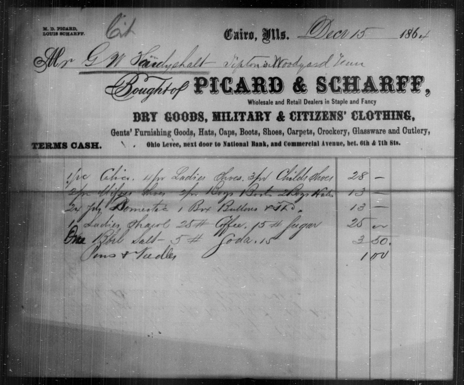 Houdyshalt, G W - State: Illinois - Year: 1864