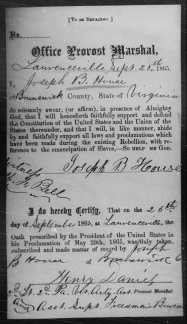 House, Joseph B - State: Virginia - Year: 1865