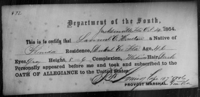 Houston, Samuel C - State: Florida - Year: 1864