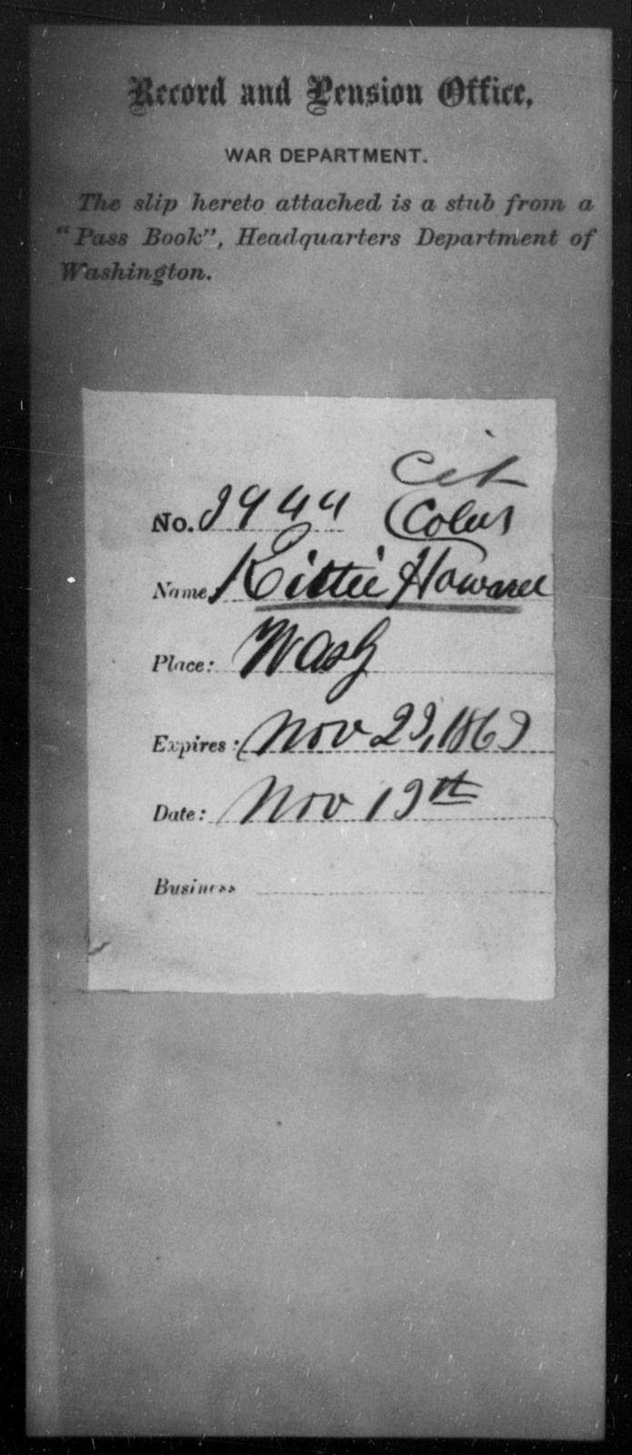 Howard, Kittie - State: Washington - Year: 1863