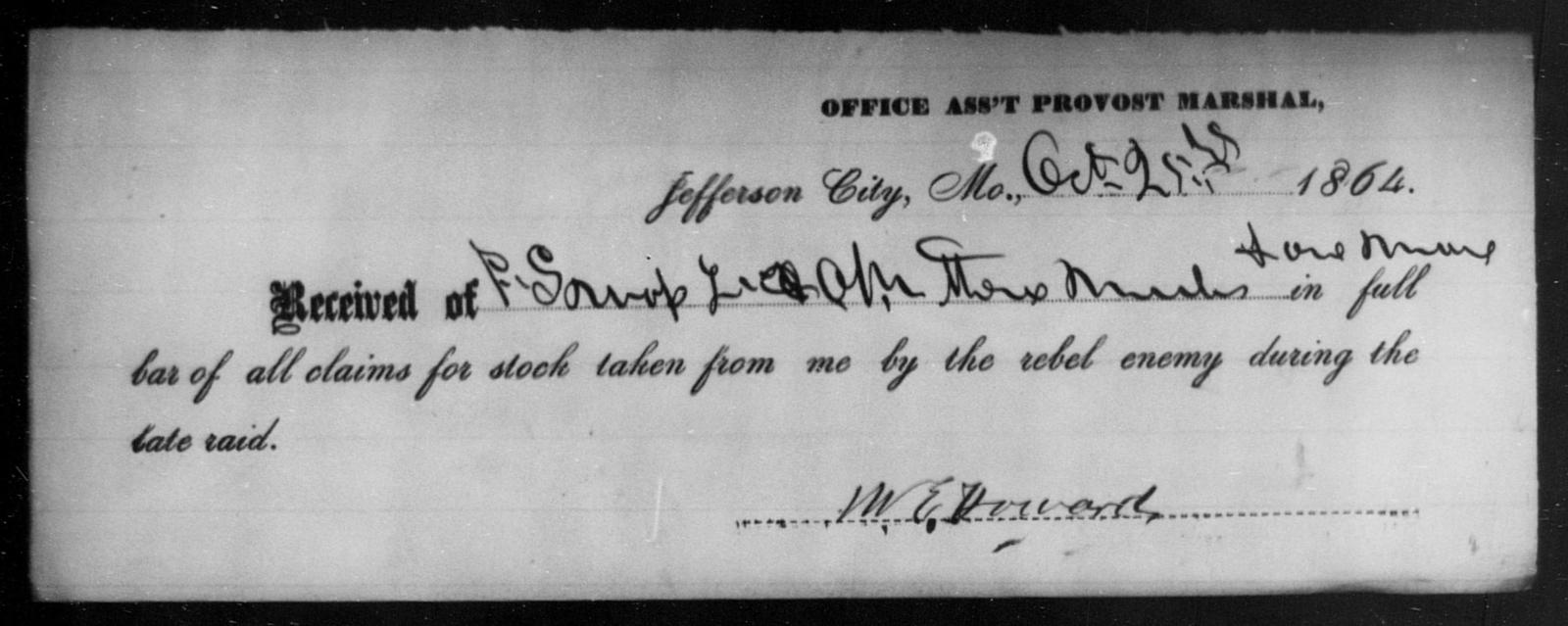 Howard, M E - State: Missouri - Year: 1864