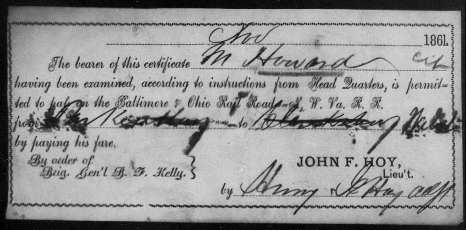 Howard, M - State: Ohio - Year: 1861