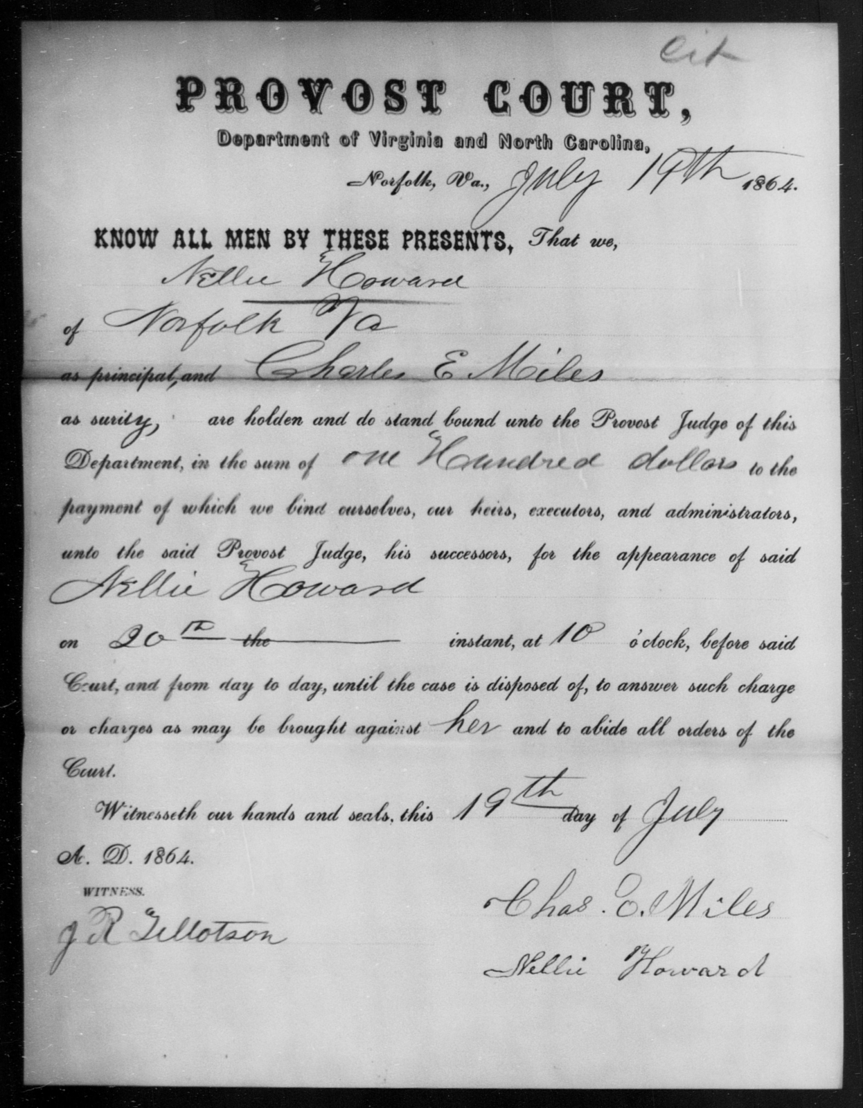 Howard, Nellie - State: Virginia - Year: 1864