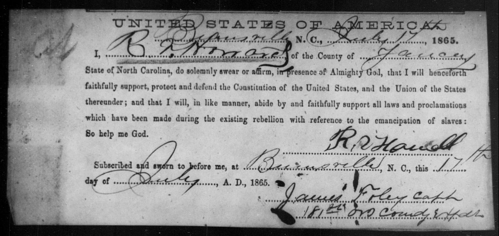 Howard, R V - State: North Carolina - Year: 1865