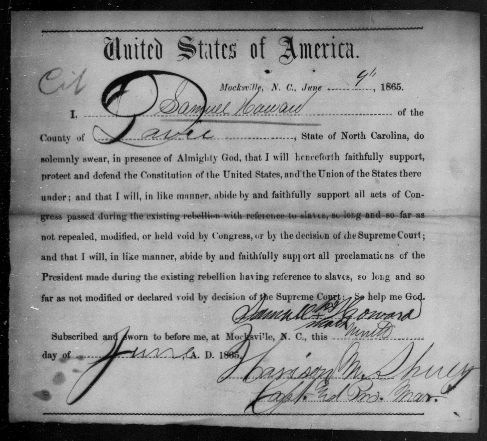 Howard, Samuel - State: North Carolina - Year: 1865